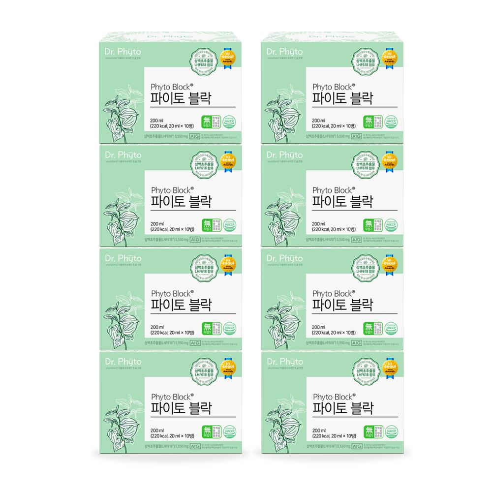 닥터파이토 파이토블락 8박스(80회분) 삼백초 추출물 LHF618 복합 호흡기 기관지 미세먼지 면역력 영양제, 80병, 20ml