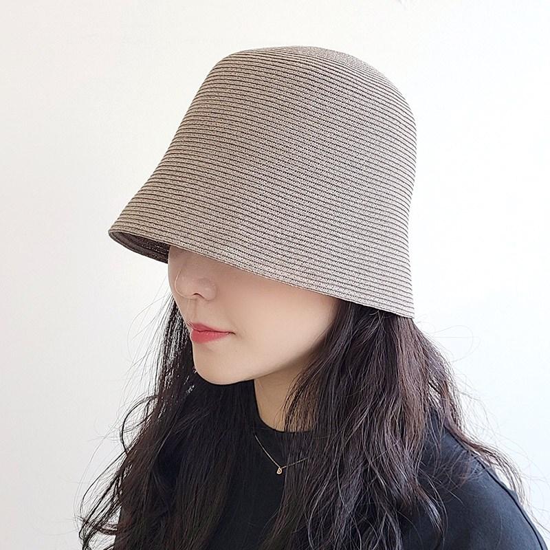 써니 골지 짚 지사 버킷햇 남여공용 여름 밀짚 벙거지 모자