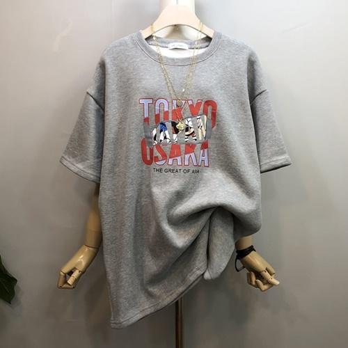 [라임브릿지] 조각 미키 기모 반팔 티셔츠