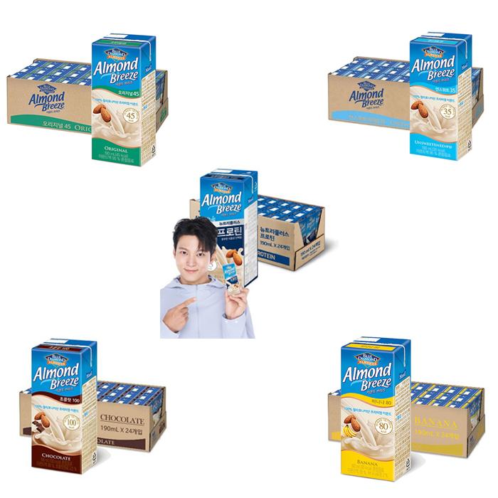 [아몬드브리즈] 오리지널 / 언스위트 / 바나나 / 초콜릿 190ml / 프로틴 x 24팩, 오리지널 190ml 24팩