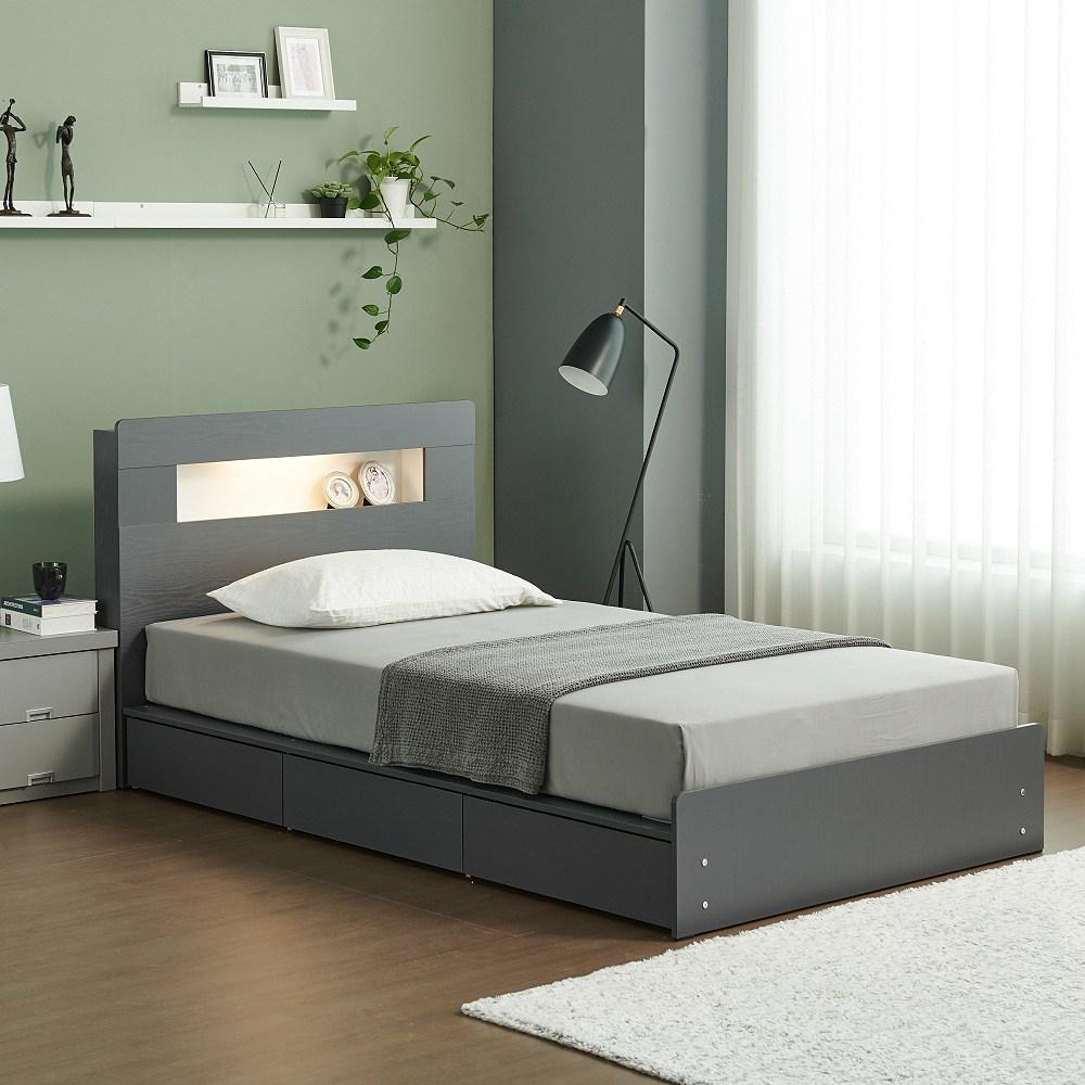 젠티스 LED 3단 멀티수납 평상형 슈퍼싱글 퀸 침대프레임 (매트선택), A. 루카스 (그레이)