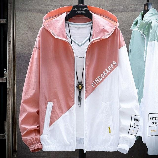 KOON 여름 사선배색 후드 바람막이 점퍼 자켓 W075J+국내발송