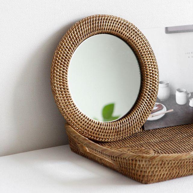 [천삼백케이] [코코로박스데코] nay 라탄 거울- L