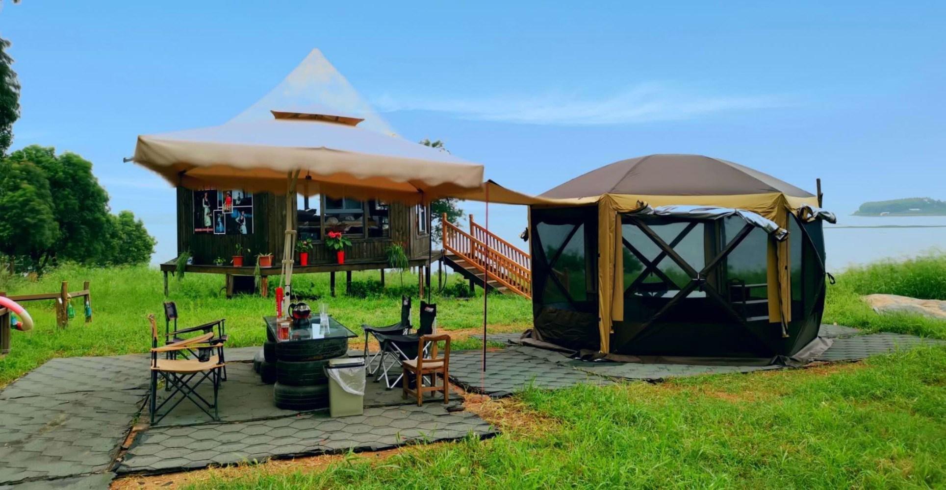 Sudong 레져 레저 캠핑 텐트 대형 6인용 이상 야외 접이식 휴대용, 업그레이드 버전 3.6 * 3.6 이중 도어