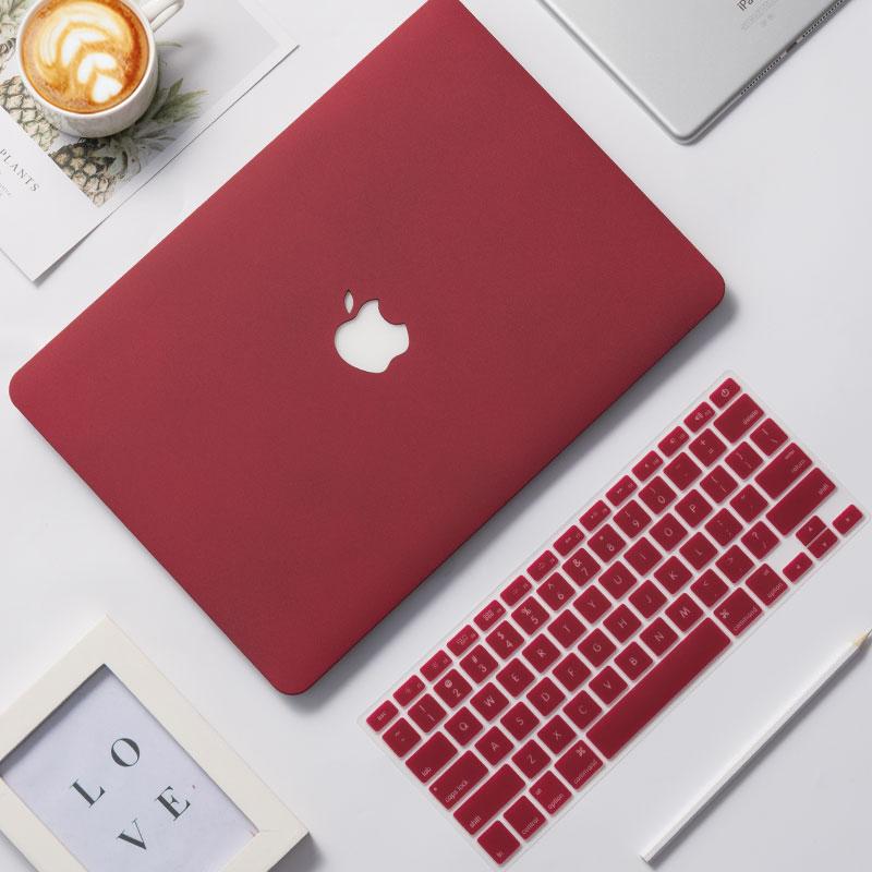 노트북케이스 macbook보호케이스 사과 컴퓨터 파우치 pro13필기노트 13.3inch air케이스 초슬림 macpro15부속품 12떨어트림방지 macair컴퓨터 2020뉴타입, 와인 레드 + 동일한 키보드 멤브레인