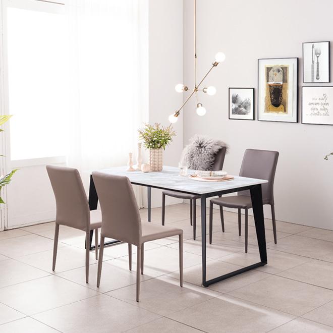 아놀드 화이트 포세린 통세라믹 4인용 식탁 세트 1400, 1400식탁+의자4개(색상 배송메세지 기재)