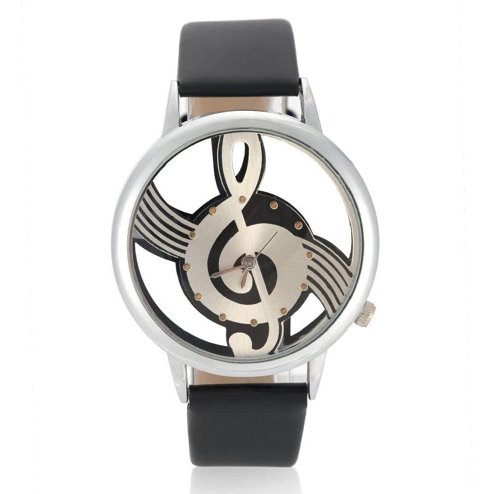VGEBY 남녀 쿼츠 아날로그 시계 중공 음표 다이얼 커플 손목 시계