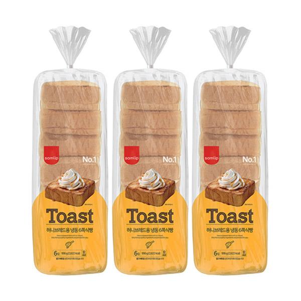 보아스몰 삼립 허니브레드용 냉동 6쪽 식빵, 996g, 3개