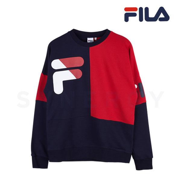 휠라 공용 루즈핏 로고 면 맨투맨(네이비)FS2POA3010X