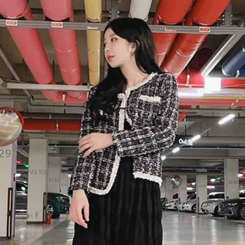VANANA2 럭셔리 프리미엄 진주펄 여성 오픈 트위드 자켓 블랙