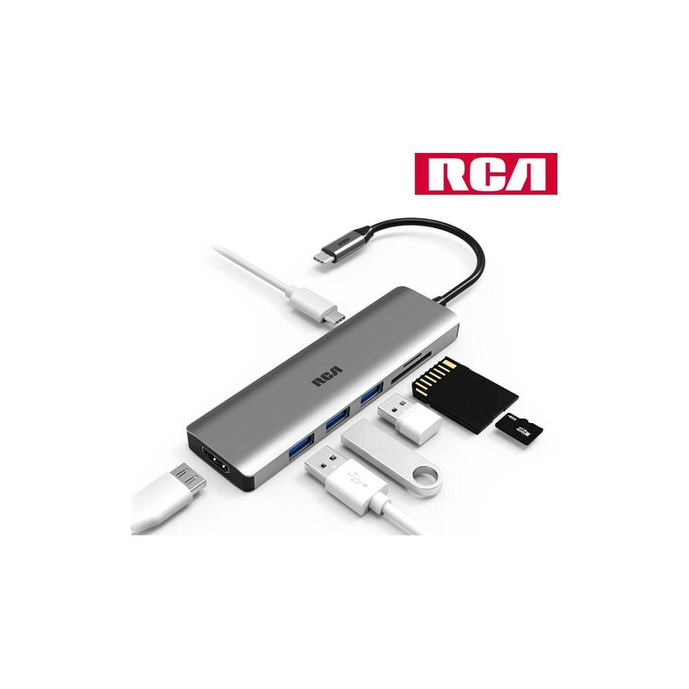RCA C112 C타입 허브 HDMI SD TF PD 카드리더기, C112 그레이
