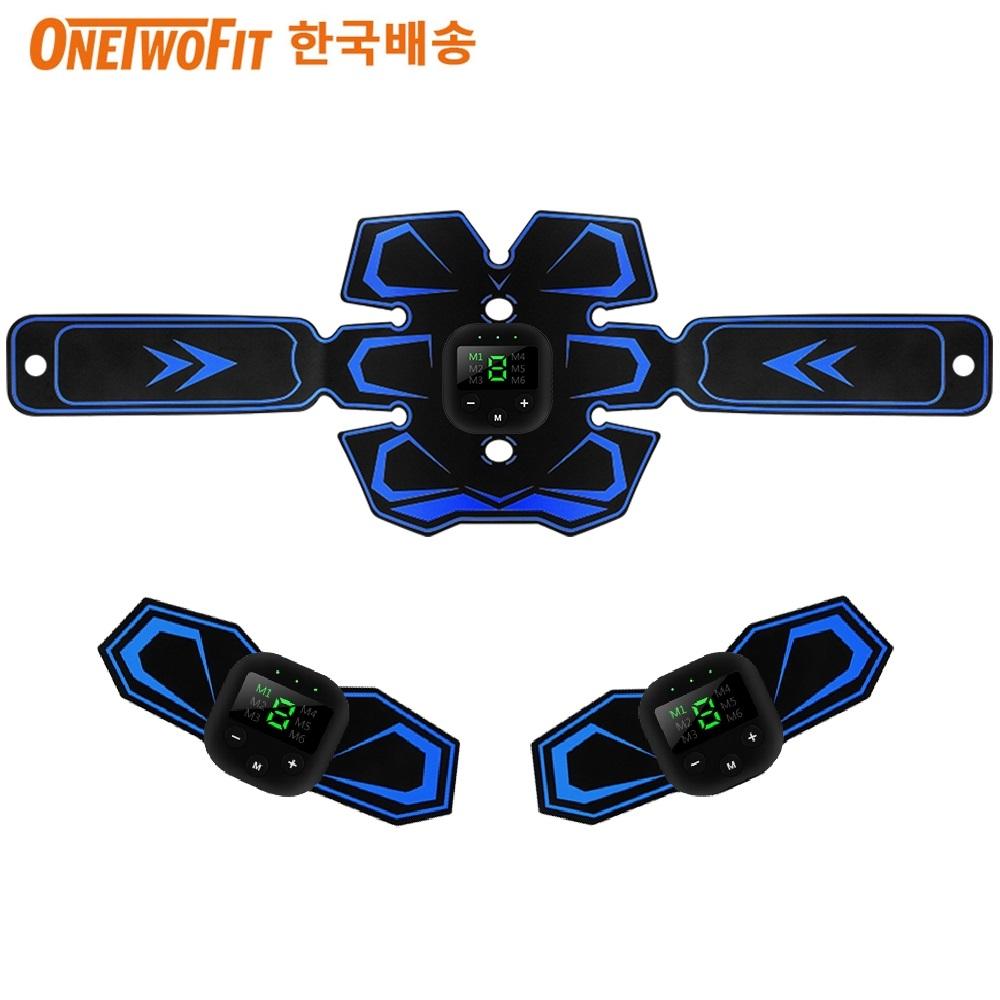 OneTwoFit EMS 바디 트레이너 저주파 복근 운동패드+날개형 저주파 리필패드 2p, 블랙/블루, OT161