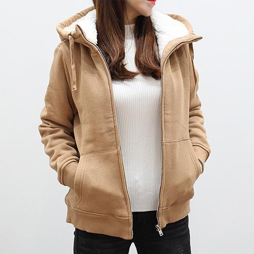 [로잘린] 양털 후드집업 맨투맨