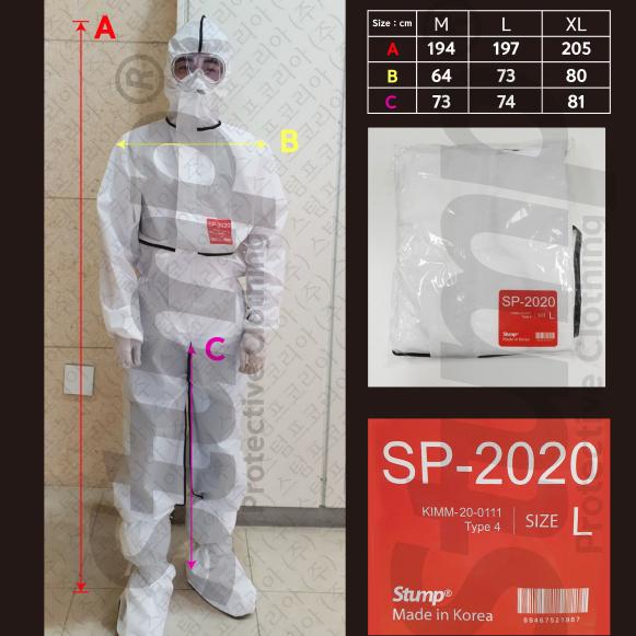 [스텀프코리아] 의료용방호복 방역복 내화학 보호복 4형식 (개인보호장구 D세트)