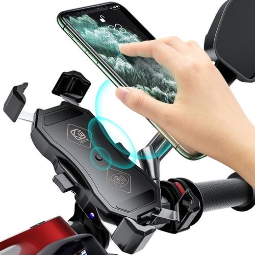 튼튼한 반자동 거치대 오토바이 핸드폰 휴대폰 스마트폰 바이크 배달대행 무선 충전 거치대, 충전기능x