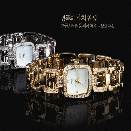 AMER 천연 다이아몬드 여성시계 명품 손목시계