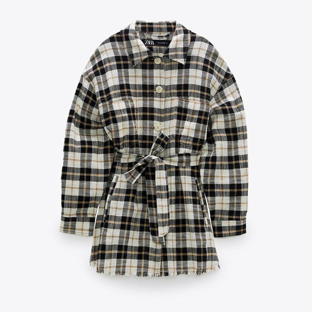 ZARA 자라 여성 체크무늬 벨트장식 롱슬리브오버 셔츠 2802302