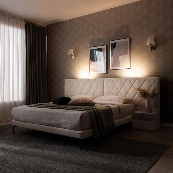 웨스트프롬 NEW LED 모던 다니엘 투매트 와이드 침대_퀸침대_킹침대_협탁2ea LED증정(Q K), 화이트