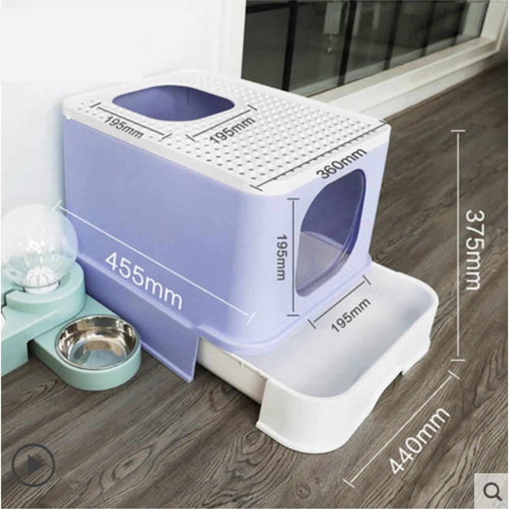 굿똥 오픈형 고양이 화장실 묘래박스 대형 화장실 강집사 즐똥 로마샌드 긋똥 - II, 퍼플