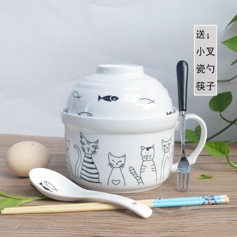 스 바 오 로 그릇 뚜껑 조반 그릇 그릇 카툰 도자기 그릇 그릇 그릇 컵 가 게 는 큼직 한 학생 식기 세트 가정용 도시락 귀엽다 기숙사 그릇 수저 링 고양이 - 수저 도자기 포크