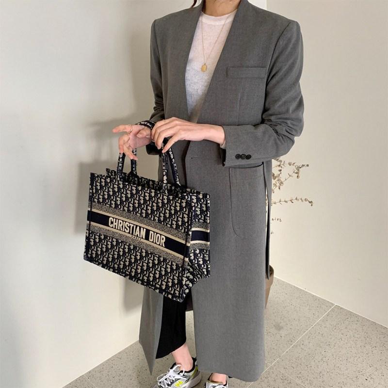 봄 가을 롱재킷 카라없는 롱자켓 여성 벨트 노카라 자켓