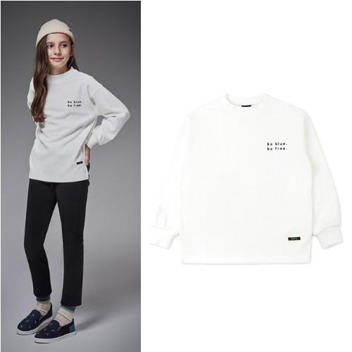 [블루테일]ATH2TS05WT보트넥 자수 포인트 골지티셔츠