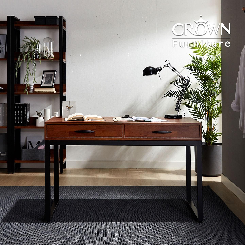 크라운퍼니쳐 카페에디트 멀바우 서랍책상 1200, 멀바우+블랙철재