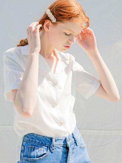 [쏘리투머치러브]전소민 착용 Eyelet Lace White 블라우스