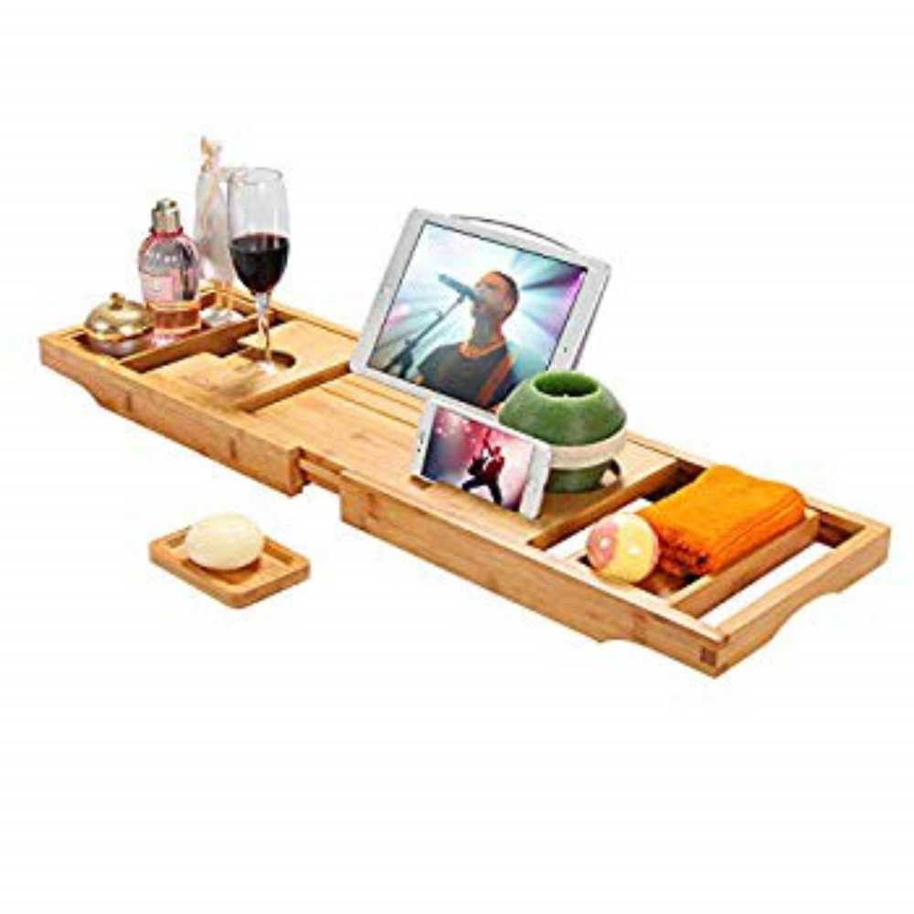 SIMATH Luxury Bathtub Caddy Tray - Bamboo Adjustable Bath Tray for Any Size Bath Tub Free Soap Holder - Water Resistant, 1