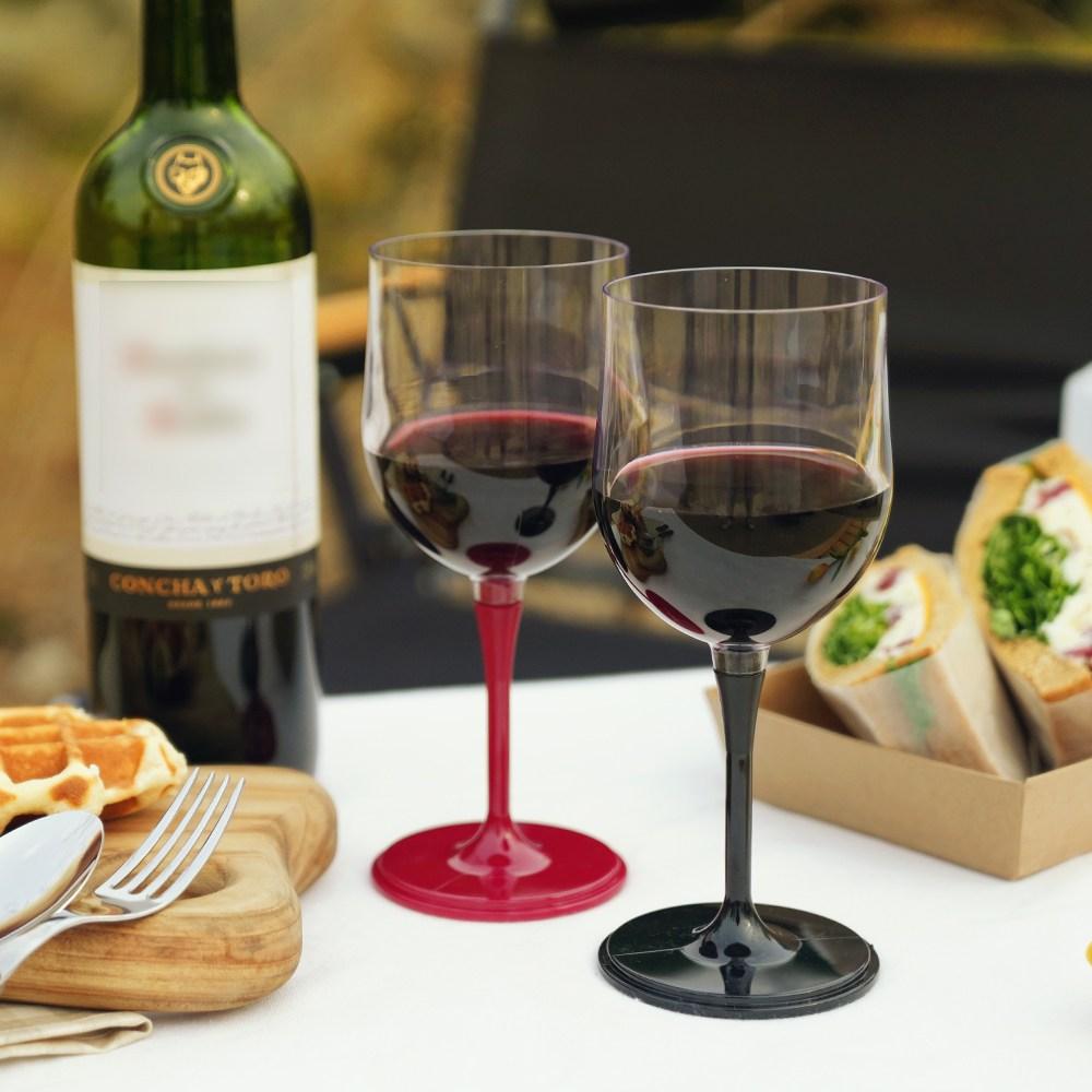 주리아토 캠핑용 휴대용 플라스틱 와인잔, 커플용 와인잔( 와인잔 2개 + 커플용 케이스), 초록