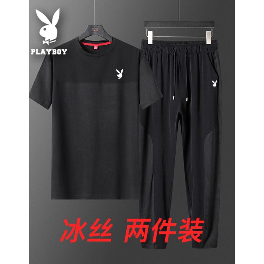 바람둥이 반팔 티셔츠 남자 티셔츠 반팔 여름 얇 은 라운드 네 크 라인 남성복 아 이 스 건 1997.3 티셔츠 남 반팔 맨투맨 트 레이 닝 세트 반팔 티셔츠 9 부 반바지 남 블랙 (602 짧 은 기장 바지) XL