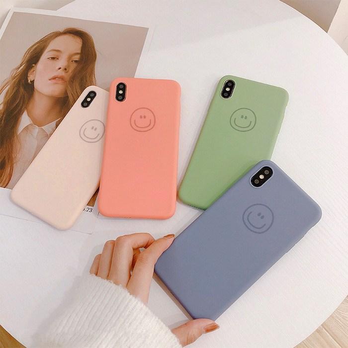 아이폰 데일리 스마일 4색 실리콘 케이스 휴대폰