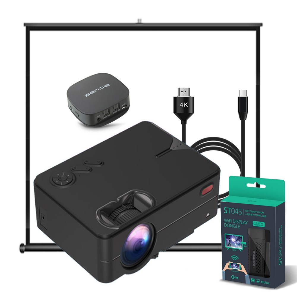 HD 미니빔 RE343S RE342S black & white 스타일 프로젝터 기능형 세트 (넷플릭스 쿠팡 플레이 앱 캠핑 영화 TV 스마트폰 미러링 케이블 미라캐스트 스크린), 블랙, AP341S블루투스 풀세트 (POP 5281934929)