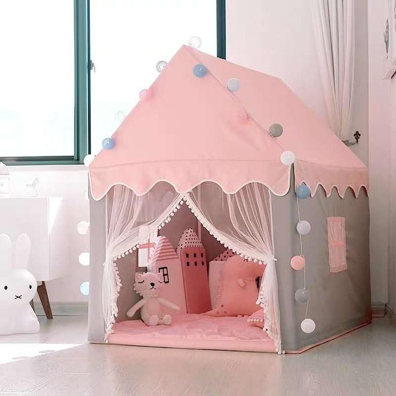 티엔비 실내 어린이 마법의 성 꿈집 드림집 놀이 텐트 하우스, 핑크