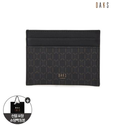 [닥스핸드백]블랙 패턴 가죽 카드지갑 DBHO0F051