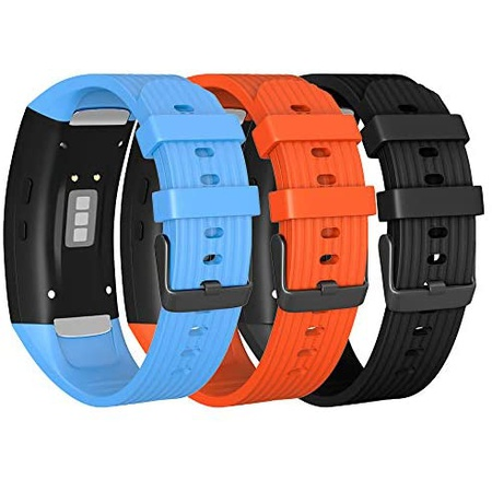 갤럭시 기어핏2 핏2프로 실리콘 스트랩 W214 밴드 3개 세트 Isabake for Samsung Gear Fit 2 BandGear Fit, One Color_BlueBlackOrange, One Color_BlueBlackOrange, One Color