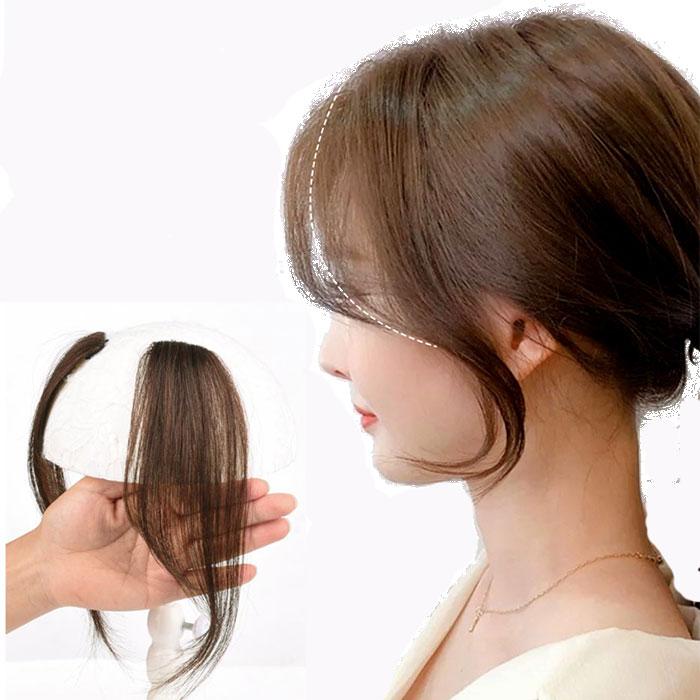 여자옆머리가발 앞머리 부분형 똑딱이 2피스세트 100% 인모 3컬러, 다크브라운