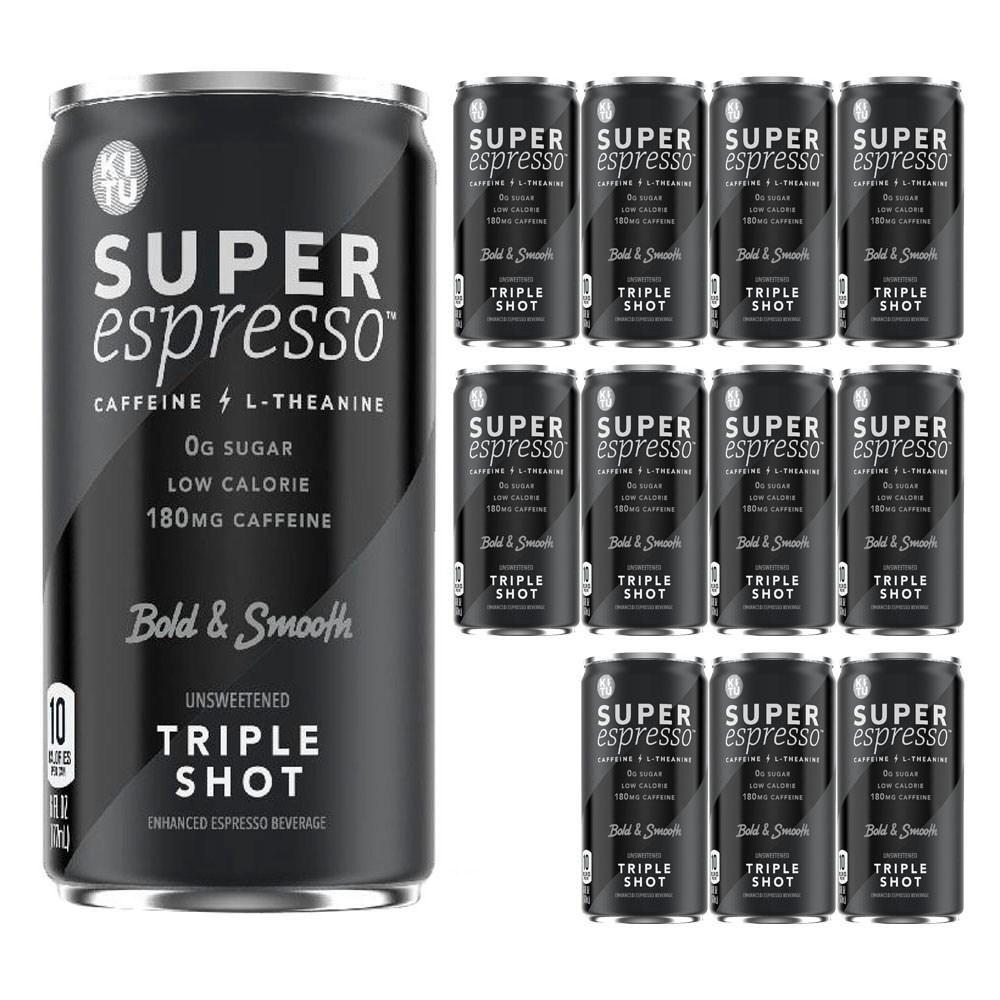키투 슈퍼 에스프레소 카페인 L-테아닌 볼드 & 스무스 언스위튼드 트리플 샷, 12개입, 177ml