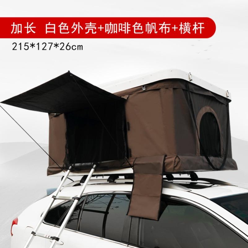 자동차 루프탑 텐트 차량용 하드 쉘 지붕 텐트 하드탑 케이스 2인용 야외 차박 캠핑, 롱 화이트 쉘 + 브라운 캔버스(215*127*26cm)