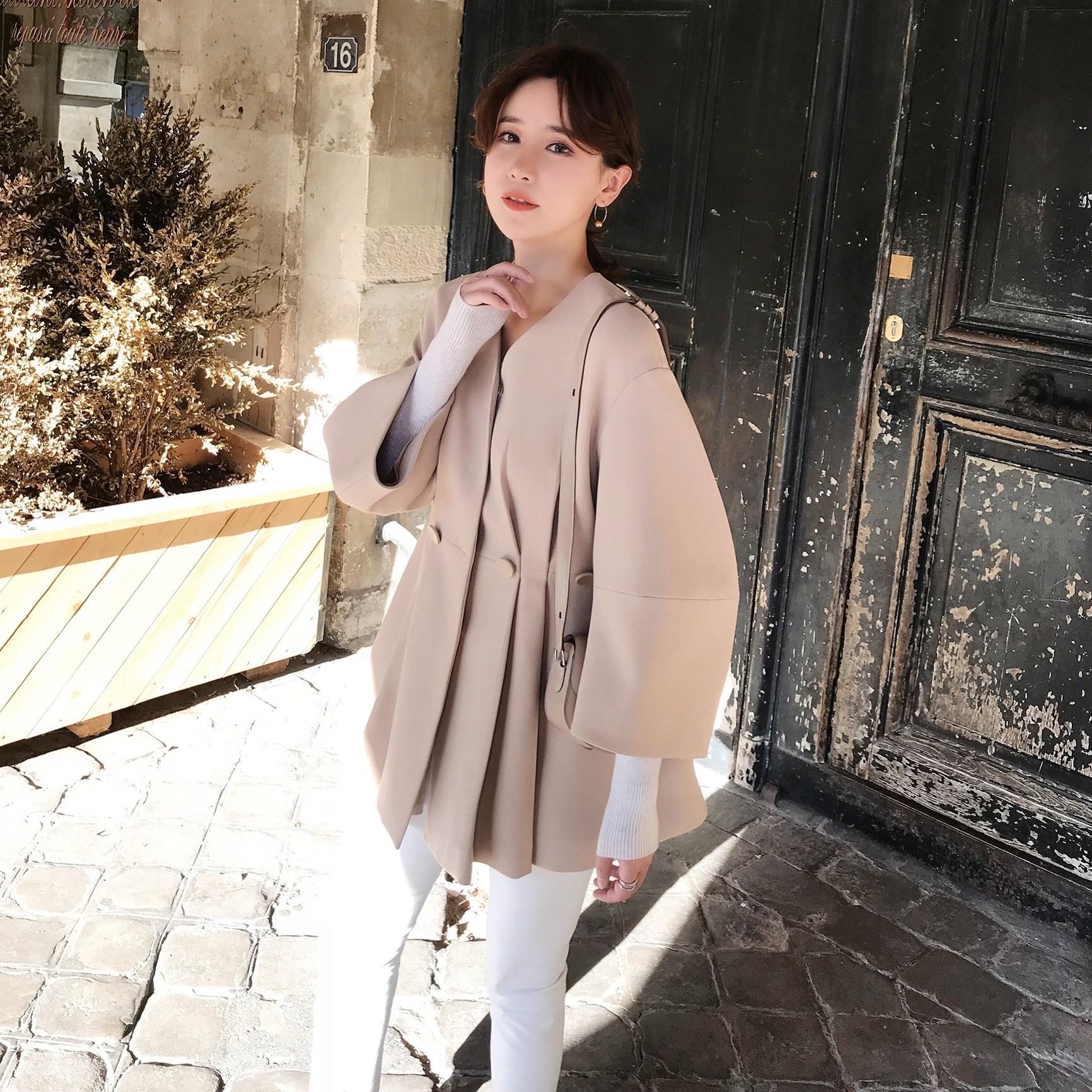 가을 여자 숏기장 벌룬소매 시크한 변형 트렌치 코트