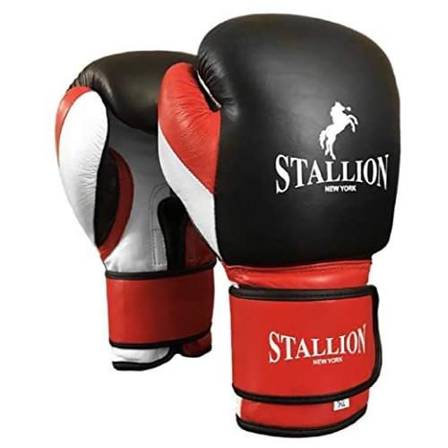 스톨리온 뉴욕 복싱 글러브 사이즈 택1 STALLION NEW YORK All Pro Boxing Gloves - Classic Power Series - Genuine Leather - Superior Velcro Gloves for BagSparring -, 옵션 1 Color = Black-Red | Size = 12oz
