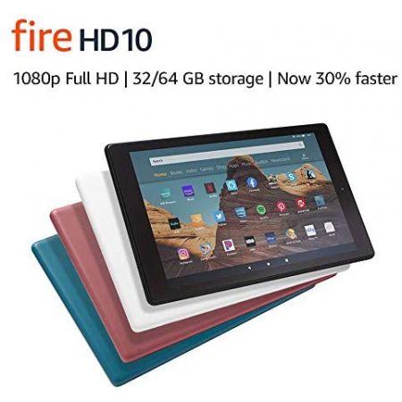 [아마존베스트]Amazon Fire HD 10 Tablet (10.1 1080p full HD display 32 GB) White PROD5860001330, White_32 GB-With Special Offers-Fire HD 10