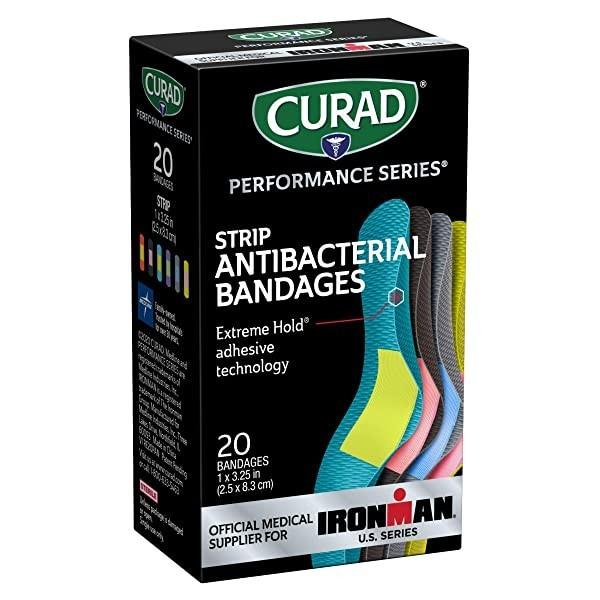 Curad-CURIM5020 Performance 시리즈 Ironman 항균 붕대 Extreme Hold 접착 기술 1 x 3.25 인치 패브릭 붕대 20 개 (POP 5722201207)