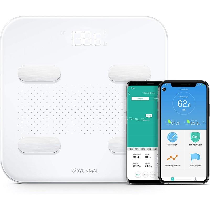 2020 년 Yunmai S 체지방 스마트 체중계 2 세대 | 풀 사이즈 블루투스 BMI 물 무게 등. 무료 앱으로 충전 가능, 단일옵션, 단일옵션