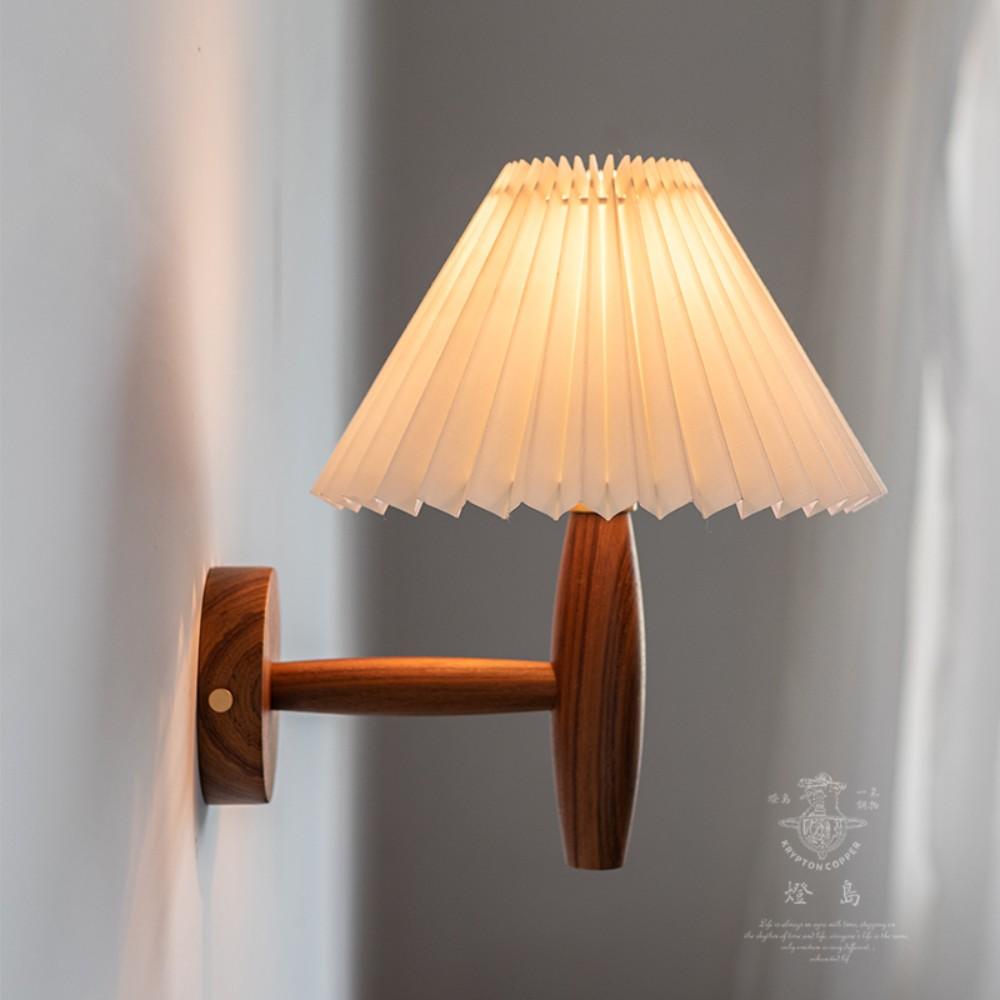 플리츠벽조명 빈티지 주름 벽 램프 라탄 우드 베란다포차 홈포차 인테리어, 버마 티크 + 베이지 갓