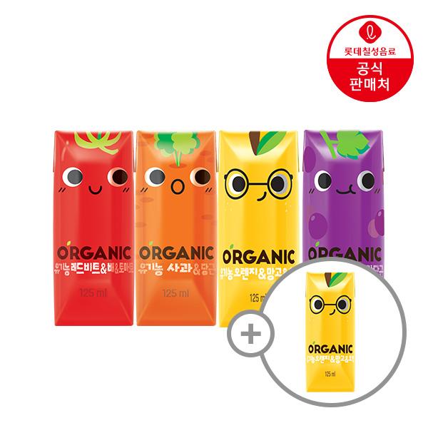 오가닉 크니쁘니 100% 유기농 사과&당근(125ML 24팩) + 신제품 오가닉(오렌지&망고) 샘플 125ML 4입 증정