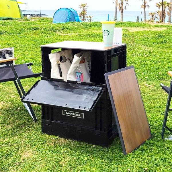 캠퍼필드 오픈도어 폴딩박스 캠핑테이블 포켓 2단 세트, 단품