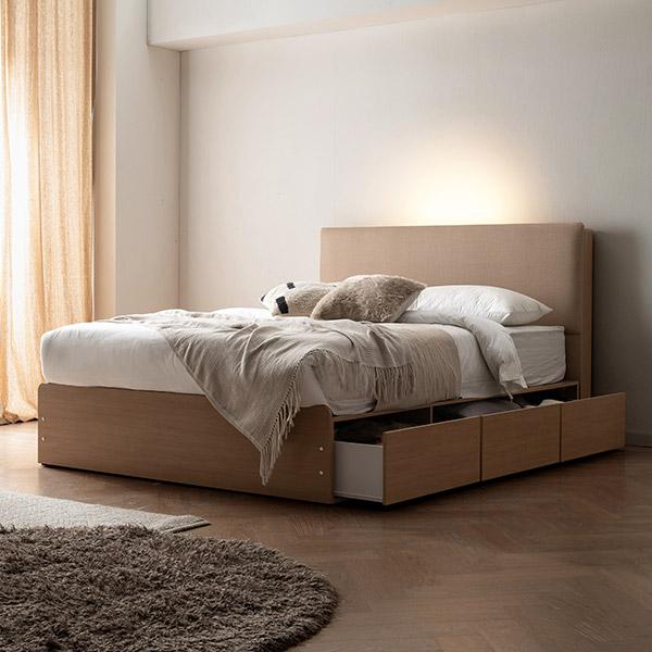 삼익가구 프레뉴 슈퍼싱글/퀸 LED 프리미엄 수납 호텔 침대 + 7존 독립 매트리스 포함, 02. 퀸;베이지+오크