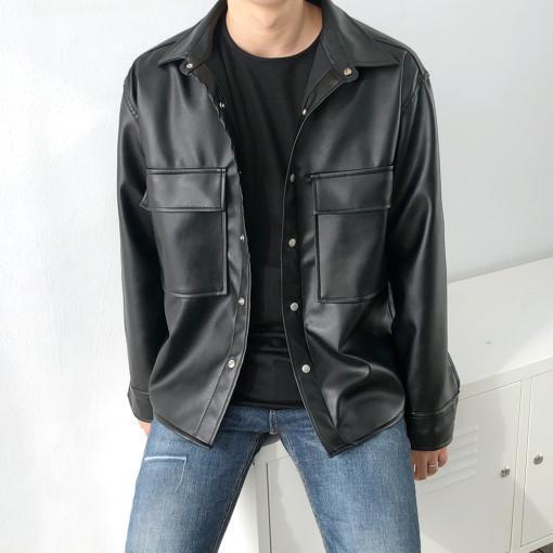 아는지인협력업체 남자 오버핏 레더 가죽 셔츠 자켓