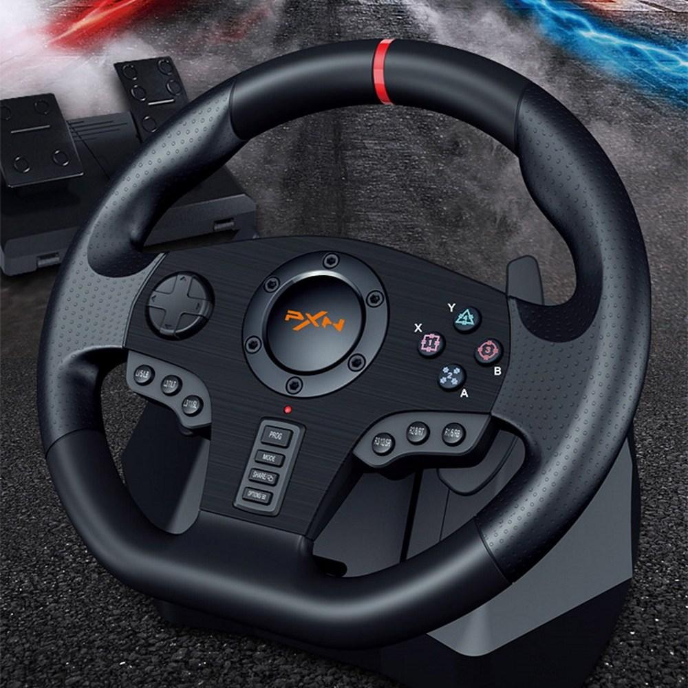 PXN PC 콘솔용 900도 레이싱휠 운전대 운전조이스틱 레이싱 핸들 유로트럭 운전게임 PS4, 1개, 단일상품